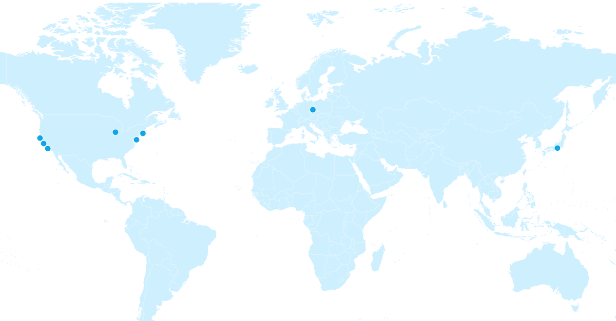 A map indicating the abbvie research locations in the USA, Germany, and Japan.